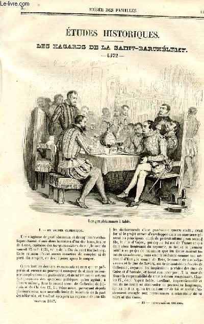 Le musée des familles - lecture du soir - deuxième série - livraison n°15 et 16- Etudes historiques - Les hasards de la Saint Barthélémy - 1572 par Paul Lacroix, (bibliophile Jacob),à suivre.