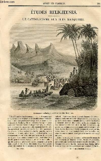 Le musée des familles - lecture du soir - deuxième série - livraison n°31 et 32- Etudes religieuses - le catholicisme aux îles Marquises par H. de M.. officier de l'expédition des MArquises.