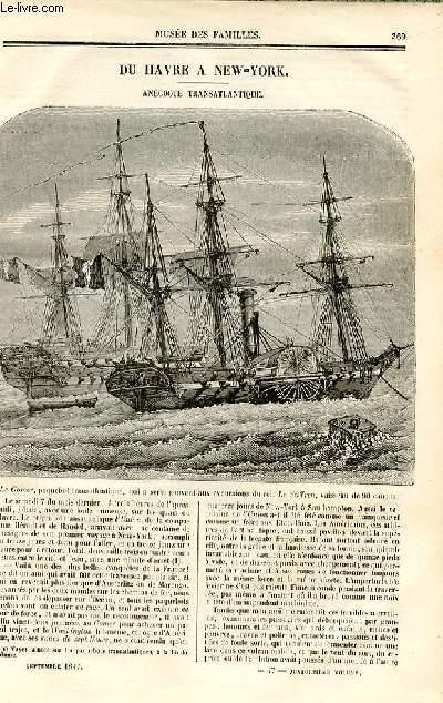 Le musée des familles - lecture du soir - deuxième série - livraison n°47 - Du Havre à New York , anecodte transatlantique par De CHatouville.