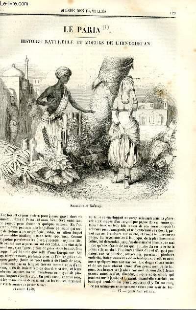 Le musée des familles - lecture du soir - deuxième série - livraisons n°17 et 18 - Le paria, histoire naturelle et moeurs de l'hindoustan par Boitard, suite et fin.
