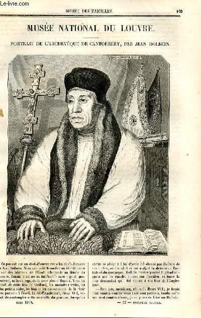 Le musée des familles - lecture du soir - deuxième série - livraison n°22 - Musée national du Louvre - portrait de l'archevêque de Cantorbery par Jean Holbein.