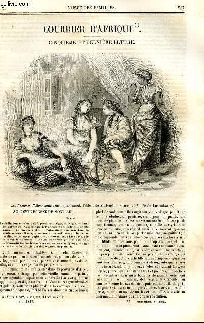 Le musée des familles - lecture du soir - deuxième série - livraison n°33 et 34 - Courrier d'Afrique - cinquième et dernière lettre par A. de Gondrecourt.