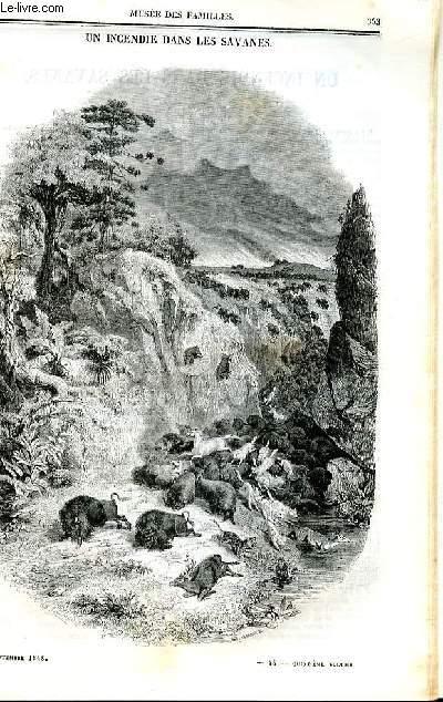 Le musée des familles - lecture du soir - deuxième série - livraison n°45 et 46 - Un incendie dans les savanes .