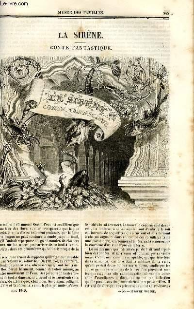 Le musée des familles - lecture du soir - deuxième série - livraison n°34 - La Sirène , conte fantastique par Bhorghers, à suivre.