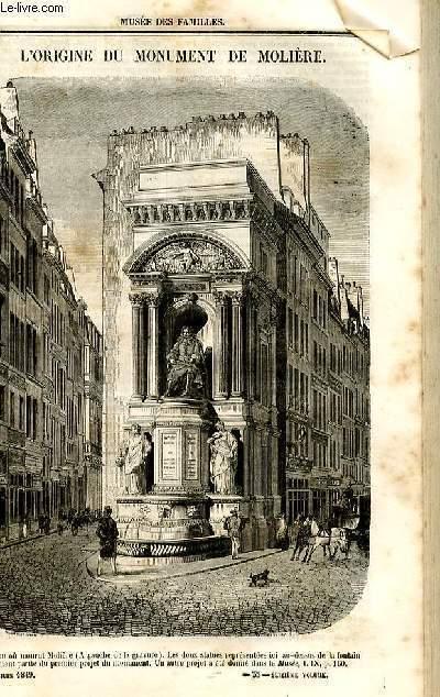 Le musée des familles - lecture du soir - deuxième série - livraisons n°35 -et 36 L'origine du monument de Molière par Frédéric d'Hainault.