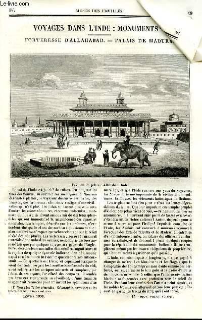 Le musée des familles - lecture du soir - deuxième série - livraison  n°13 - Voyages dans l'Inde : Monuments - forteresse d'Allahabad - palais de Madura.