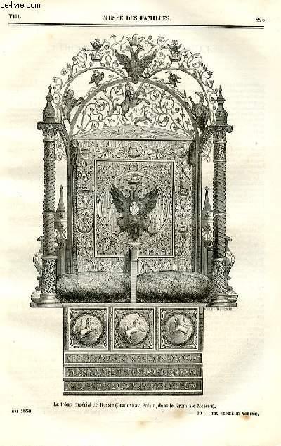 Le musée des familles - lecture du soir - deuxième série - livraisons n°29 et 30 - La Russie et les Russes - Le trône impérial de Russie.