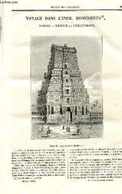 Le musée des familles - lecture du soir - deuxième série - livraison n°04 - Voyage dans l'Inde - monuments, suite - Sadras, Vilnour, Chillenbroun.