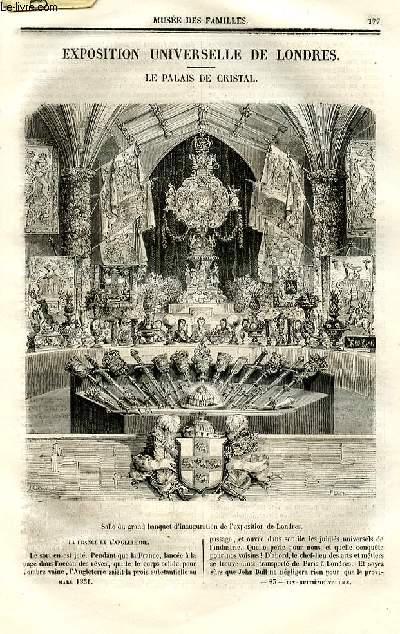 Le musée des familles - lecture du soir - deuxième série - livraison n°23 - Exposition universelle de Londres - Le palais de cristal.
