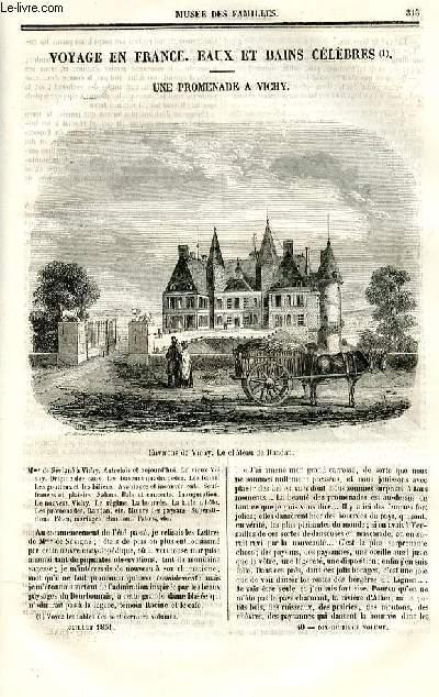 Le musée des familles - lecture du soir - deuxième série - livraison n°40 - Voyage en France - Eaux et bains célèbres - Une promenade à  Vichy par Grolier.