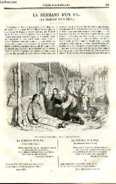 Le musée des familles - lecture du soir - deuxième série - livraison n°24 - La semmano d'un fil (la semaine d'un fils par jacques Jasmin (pour le patois original) et Lacroix (pour la traduction en français en miroir).