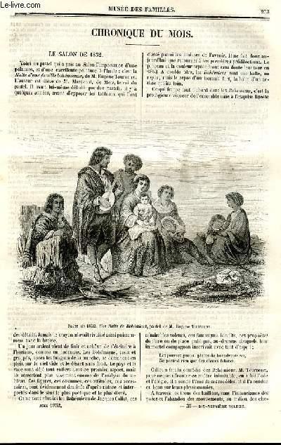 Le musée des familles - lecture du soir - deuxième série - livraisons n°35 et 36 - Chronique du mois - le salon de 1852.
