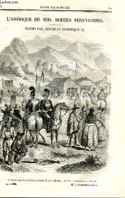 Le musée des familles - lecture du soir - deuxième série - livraisons n°41 et 42 - 'Amérique du Sud - moeurs péruviennes, suite  et fin par Jules Verne- MArtin paz, nouvelle historique.