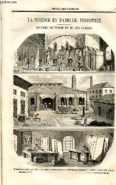 Le musée des familles - lecture du soir - deuxième série - livraisons n°09 et 10 - La science en famille - Industrie: Histoire du verre et de ses usages  par P. Grolier.