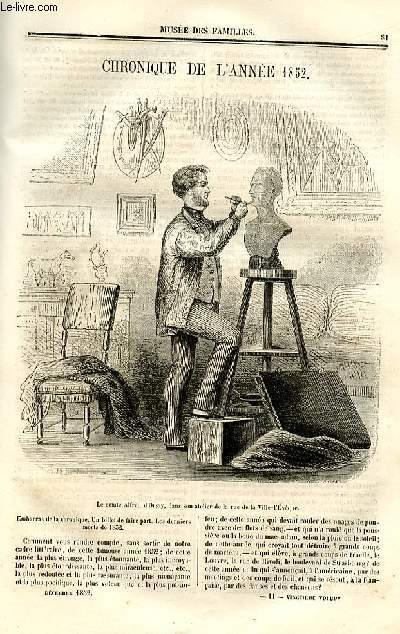 Le musée des familles - lecture du soir - deuxième série - livraisons n°11 et 12 - Chronique de l'année 1852.