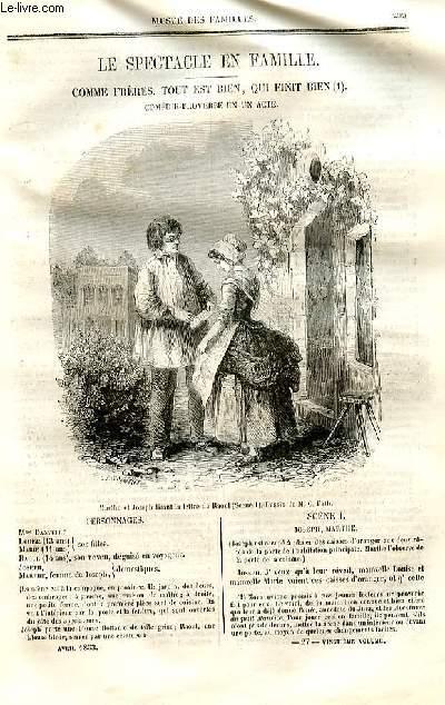 Le musée des familles - lecture du soir - deuxième série - livraisons n°27 et 28 - Le spectacle en famille - Comme Frères - Tout est bien qui finit bien , comédie proverbe en un acte par J.J. POrchat.