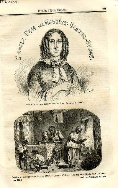 Le musée des familles - lecture du soir - deuxième série - livraisons n°31et 32 - L'oncle tom par Harriet Beecher Stowe.