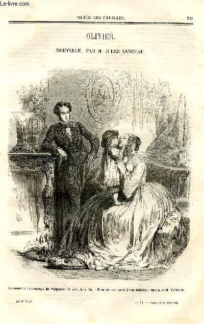 Le musée des familles - lecture du soir - deuxième série - livraisons n°41 et 42- Olivier,nouvelle par Jules Sandeau.
