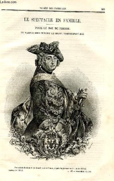 Le musée des familles - lecture du soir - deuxième série - livraisons n°47 et 48- Le spectacle en famille - Pour le roi de Prusse, un mariage sous frédéric Le Grand, comédie proverbe par Pitre Chevalier.