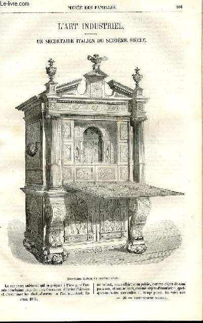 Le musée des familles - lecture du soir - deuxième série - livraison n°26 - L'art industriel - un secrétaire italien du 16ème siècle.