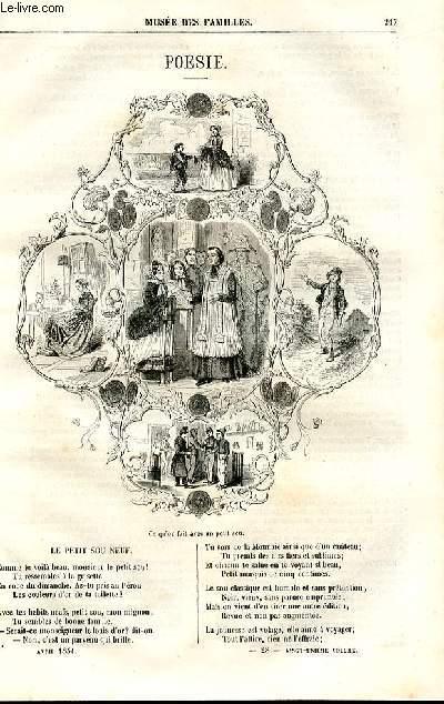 Le musée des familles - lecture du soir - deuxième série - livraison n°28 - Poésie - Le petit sou neuf par Anaïs Ségalas.