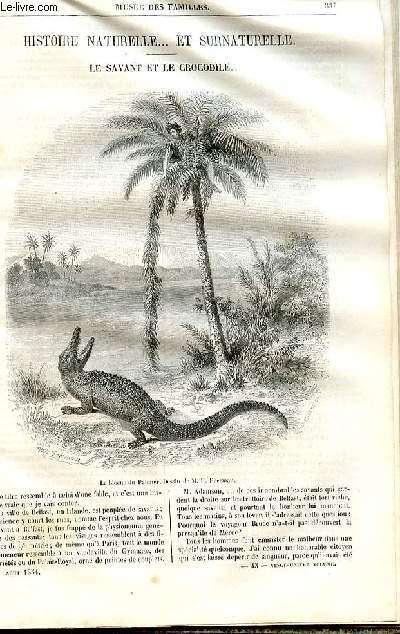 Le musée des familles - lecture du soir - deuxième série - livraison n°43 - Histoire naturelle et surnaturelle - Le savant et le crocodile par Méry.