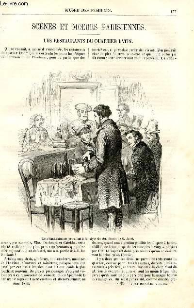 Le musée des familles - lecture du soir - deuxième série - livraison n°23 - Scènes et moeurs parisiennes - Les restaurants du quartier latin par Victor Fournet, livraison consacrée à ce sujet.