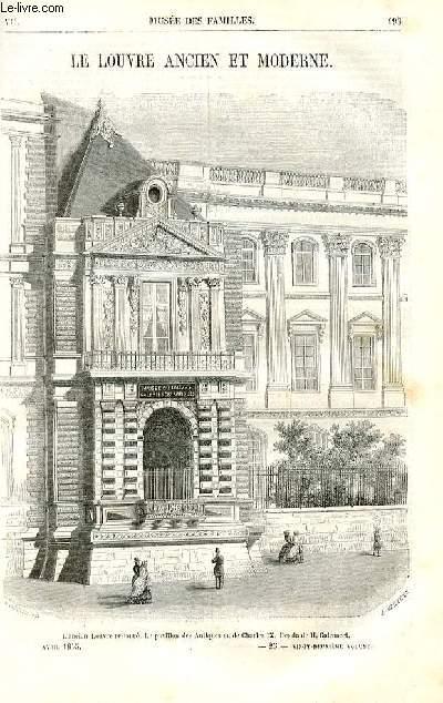 Le musée des familles - lecture du soir - deuxième série - livraison n°25 - Le Louvre ancien et moderne  par Wallut, livraison consacrée à ce sujet.