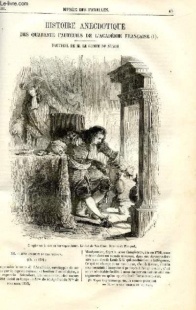 Le musée des familles - lecture du soir -  livraisons n°09 et 10 - Histoire anecdotique des quarantes fauteuils de l'Académie Française, Fauteuil de M. le Comte de Ségur,suite par Philarète Chasles.