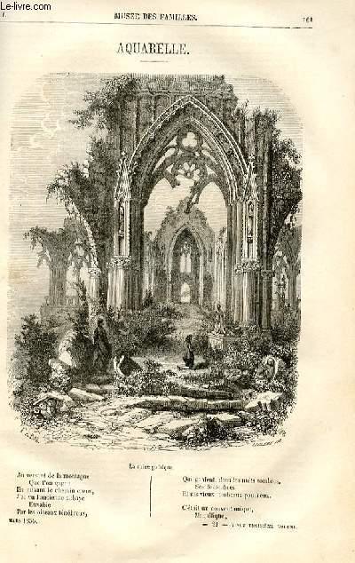 Le musée des familles - lecture du soir -  livraison n°21 - Aquarelle , poème par Edouard Plouvier.