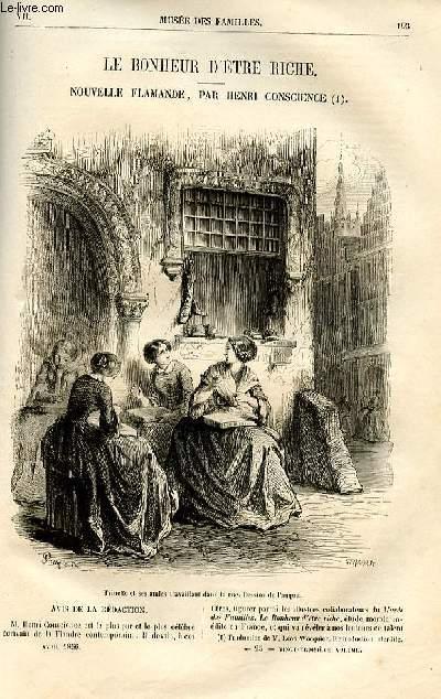Le musée des familles - lecture du soir -  livraisons n°25 et 26 - Le bonheur d'être riche, nouvelle flamande par Henri Conscience,à suivre.