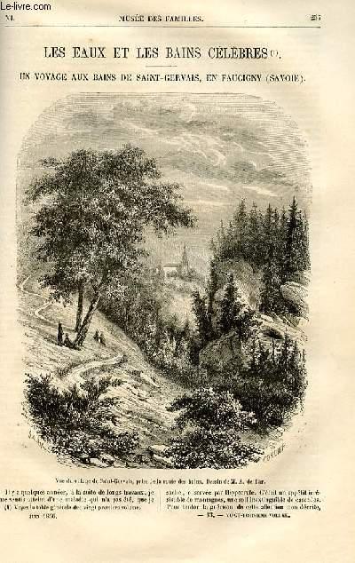 Le musée des familles - lecture du soir -  livraison n°33 - Les eaux et les bains célèbres  - un voyage aux Bains de Saint Gervais en Faucigny, Savoie par Grolier.