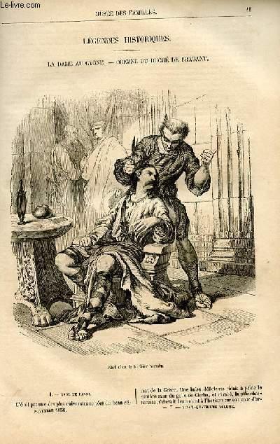 Le musée des familles - lecture du soir -  livraison n°07 - Légendes historiques - la dame au cygne - origine du duché de Brabant par Joseph Boulmier.