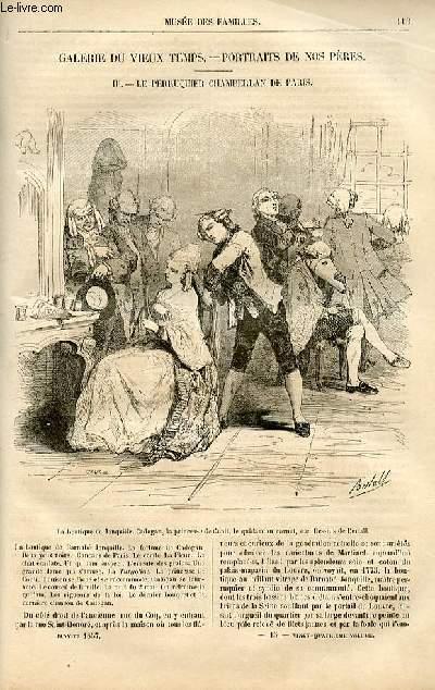 Le musée des familles - lecture du soir -  livraison n°15 - Galerie du vieux temps - Portraits de nos pères - Le perruquier Chamberlan de PAris par Mary Lafon,à suivre.
