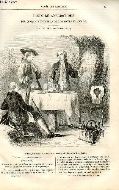 Le musée des familles - lecture du soir -  livraisons n°23 et 24 - Histoire anecdotique des quarantes fauteuils de l'Académie Française - fauteuil de De Lamartine, suite .
