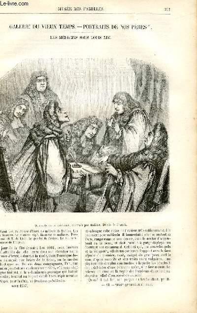 Le musée des familles - lecture du soir -  livraison n°41 - Galerie du Vieux Temps - Portraits de nos pères : Les médecins sous Louis XIV par MAry Lafon,à suivre.