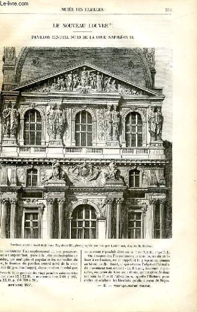 Le musée des familles - lecture du soir -  livraisons n°45 et 46 - Le nouveau Louvre,pavillon central nord de la cour de Napoléon III par Pitre Chevalier.