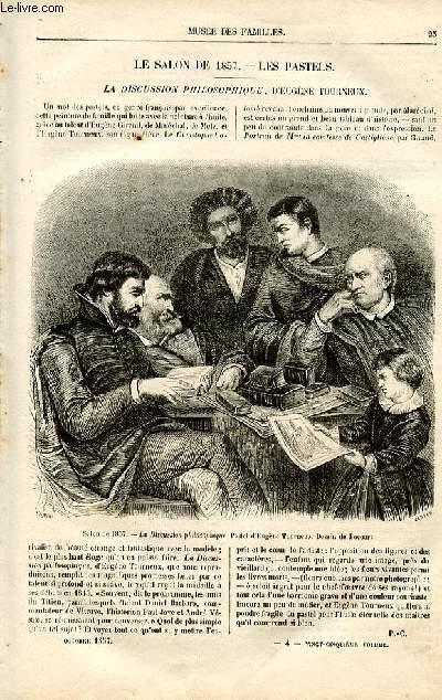 Le musée des familles - lecture du soir -  livraison n°04 - Le salon de 1857 - les pastels: la discussion philosophique d'Eugène Tourneux (petit article).