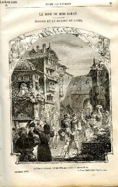 Le musée des familles - lecture du soir -  livraisons n°05 et 06 - La rose de Miss Sarah, épisode de la guerre de l'Inde par Pitre Chevalier.
