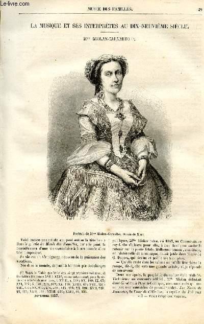 Le musée des familles - lecture du soir -  livraison n°07 - La musique et ses interprètes au 19ème siècle - Mme Miolan-Carvalho par Pitre Chevalier.