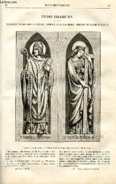 Le musée des familles - lecture du soir -  livraisons n°09 et 10 - Etudes religieuses - Inauguration de Sainte Clotilde - vitraux de Galimard - légende de Sainte Hélène par De Chatouville.