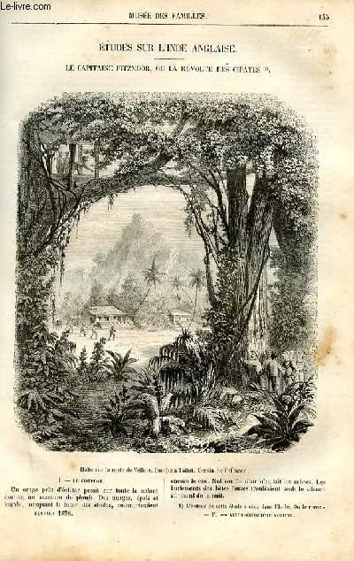 Le musée des familles - lecture du soir -  livraisons n°19 et 20 - Etudes sur l'Inde anglaise - Le capitaine Fitzmoor ou La révolte des cipayes par Alfred de bréhat,à suivre.