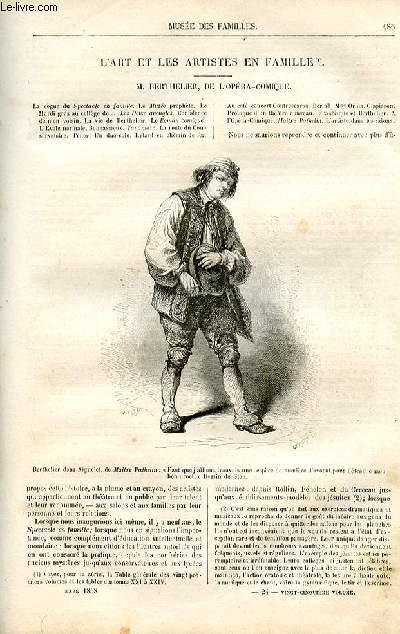 Le musée des familles - lecture du soir -  livraison n°24 - L'art et les artistes en famille - Berthelier de l'Opéra Comique par Pitre Chevalier.