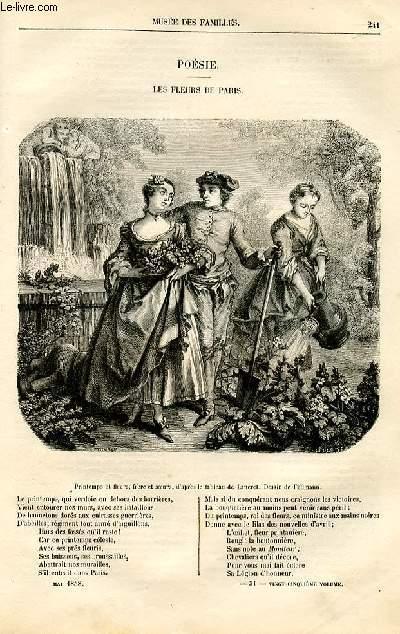 Le musée des familles - lecture du soir -  livraisons n°31 et 32 - Poésie - Les fleurs de Paris par Anaïs Ségalas,poème.