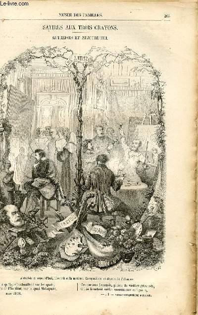 Le musée des familles - lecture du soir -  livraison n°34 - Satires aux trois crayons - autrefois et aujourd'hui,poème apr Eugène Tourneux.
