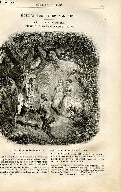 Le musée des familles - lecture du soir -  livraison n°41 - Etudes sur l'Inde anglaise - éléphants et monstres, épisode de l'insurrection indienne - 1857 par Méry,suite.
