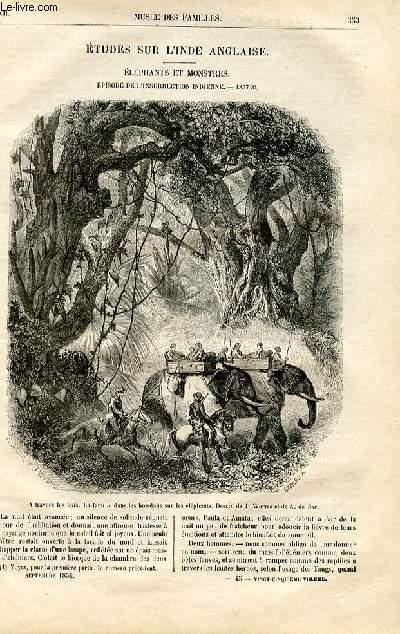 Le musée des familles - lecture du soir -  livraison n°45 - Etudes sur l'Inde anglaise - éléphants et monstres, épisode de l'insurrection indienne - 1857,suite et fin par Méry.