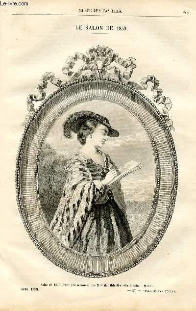 Le musée des familles - lecture du soir -  livraison n°27 - Le salon de 1859 - Histoire de la miniature - Mme Herbelin par Pitre Chevalier,à suivre.