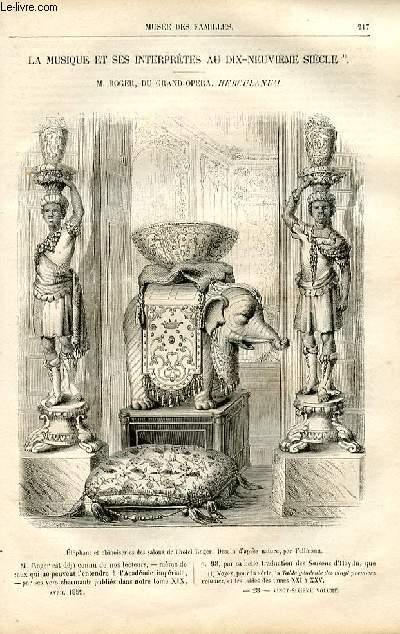 Le musée des familles - lecture du soir -  livraison n°28 - La musique et ses interprètes au 19ème siècle - Roger, du Grand Opéra - Herculanum par Pitre Chevalier.