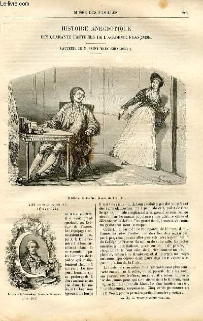 Le musée des familles - lecture du soir -  livraison n°34 - Histoire anecdotique des quarantes fauteuils de l'Académie Française - fauteul de SAint MArc Girardin ,suite par Victor Fournel.